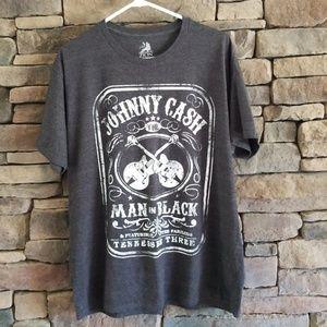 Johnny Cash Man in Black Tshirt.   XL Gray